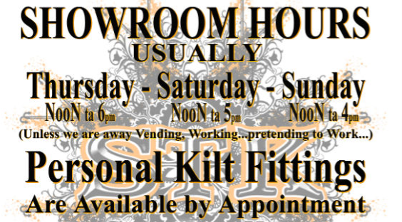Showroom hours usually Thursday, Saturday & Sunday - Noon to 5 PM