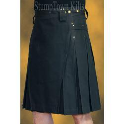Men's Black Cotton Canvas Duck Kilts