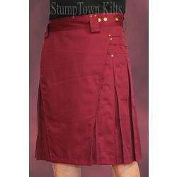 Men's Burgundy Kilt w/Antique Brass Rivets