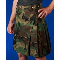 Men's Camo Kilt w/Antique Brass Rivets