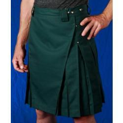 Men's Forest Green Kilt w/Antique Brass Rivets