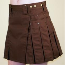 Women's Brown Kilt w/Antique Brass Rivets