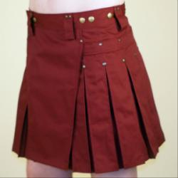 Women's Burgundy Kilt w/Antique Brass Rivets