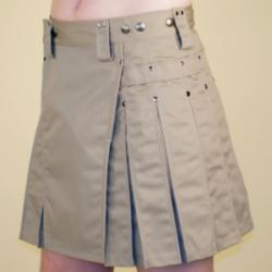 Women's Khaki Kilt with Gunmetal Rivets
